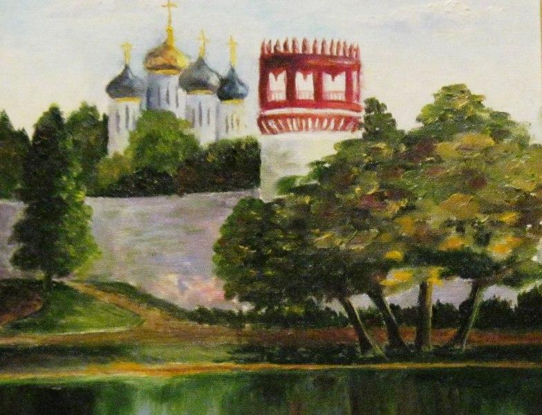 Пруд у Новодевичьего монастыря. Холст, масло, 30х40